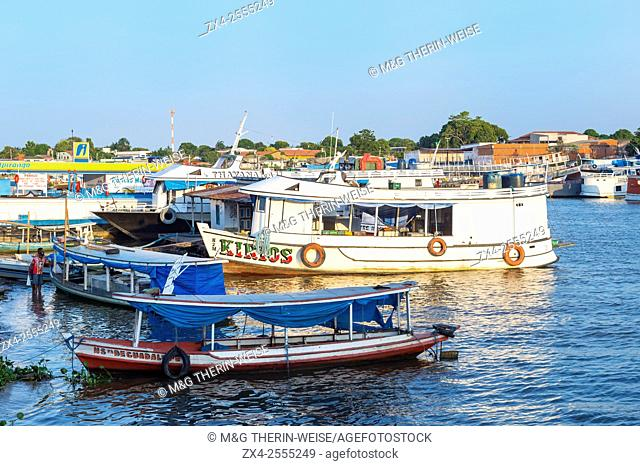 Traditional wood boats in the Parintins harbour, Parintins, Amazona state, Brazil