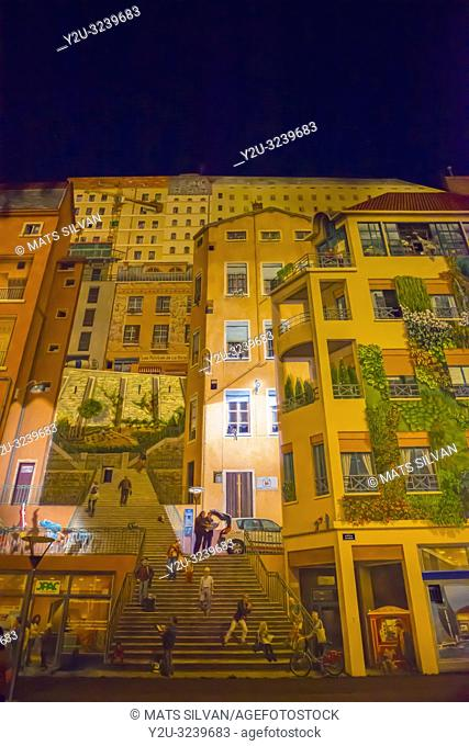 Painted Facade Wall on a Building in Lyon at Night in Auvergne-Rhone-Alpes, France