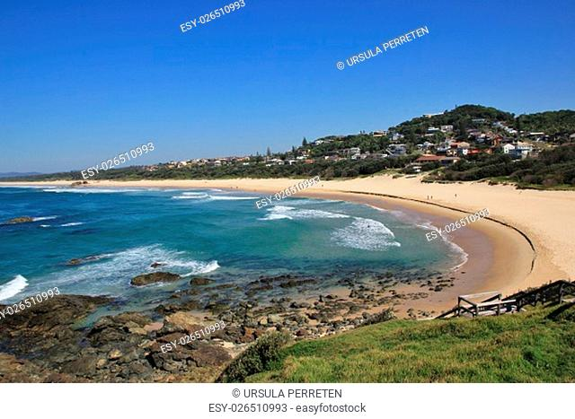 Azure blue pacific and Lighthouse Beach. Travel destination Port Macquarie, Australia
