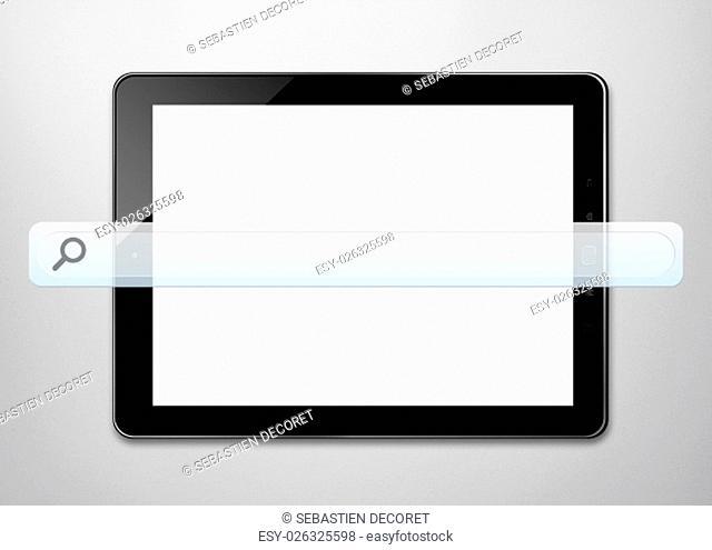 Empty web bar in front of modern digital tablet