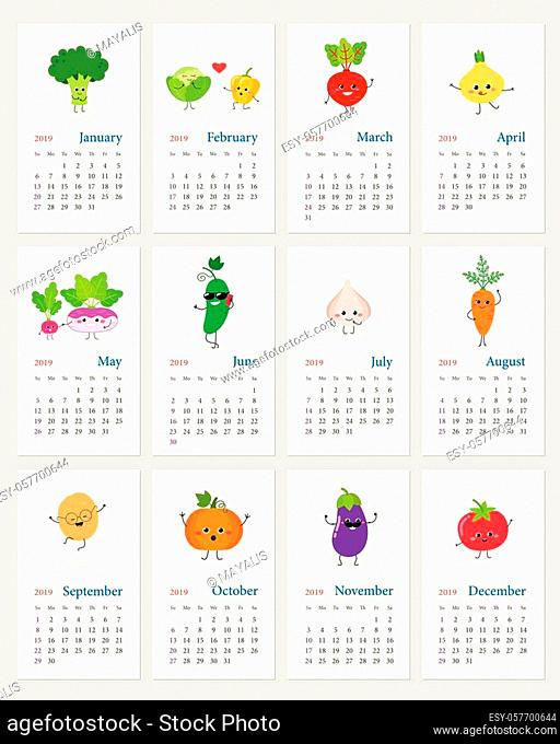 Funny leafy calendar 2019 year with happy cartoon vegetable characters. Week starts on Sunday