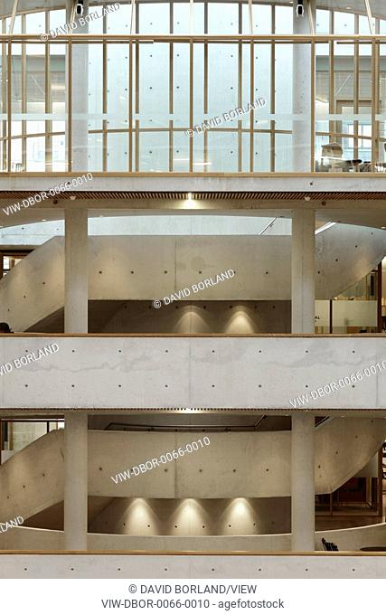 Gyldendal Headquarters, Oslo, Norway. Architect: Sverre Fehn, 2007. Detail of concrete staircases and balconies in central enclosed courtyard