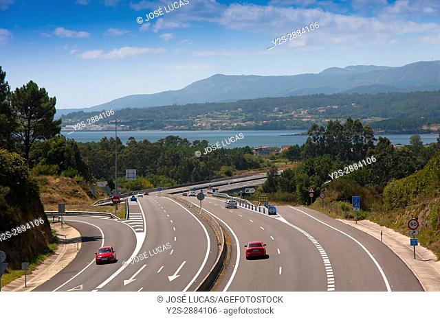 AG-11 Barbanza motorway and Arosa estuary, Rianxo, La Coruna province, Region of Galicia, Spain, Europe