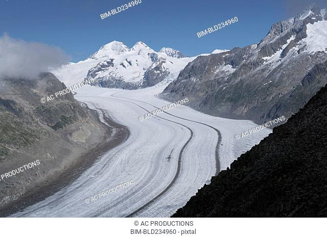 Snowy mountain road, Aletsch Glacier, Languedoc-Roussillon, Switzerland