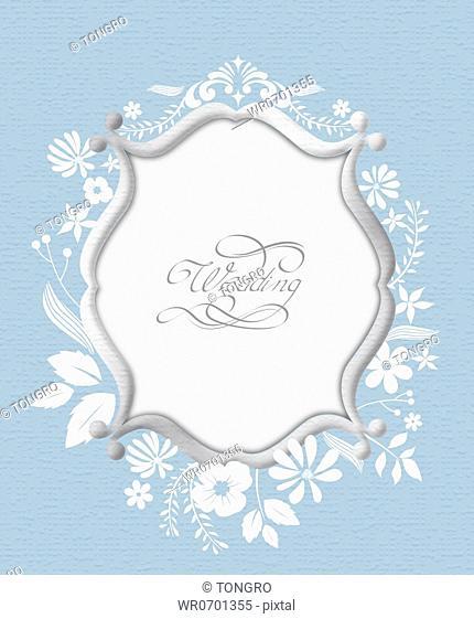 Gray frame and white flower wedding invitation card