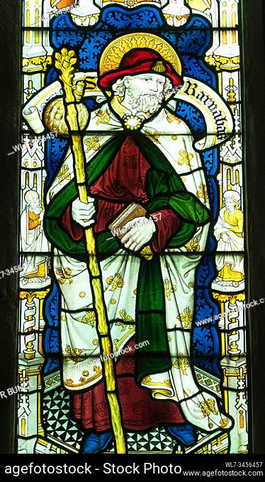 Stained glass depicting St Barnabas, St Mary's Priory Church, Abergavenny Wales UK. May 2019