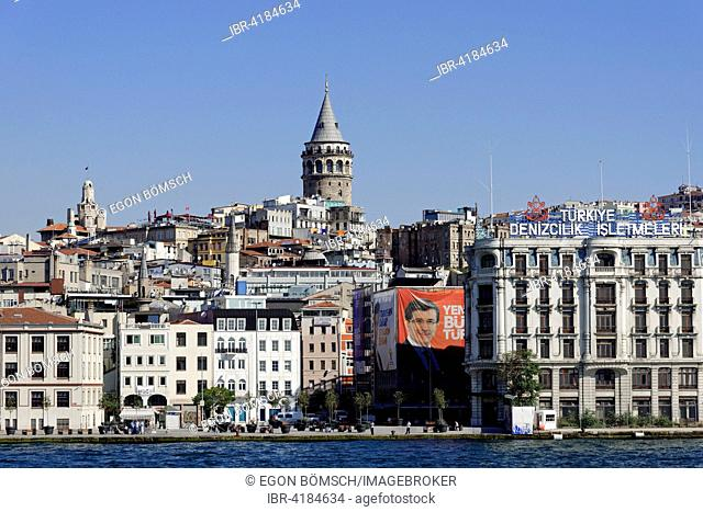 Views of the Galata Tower and the city, Beyoglu, Golden Horn, Istanbul, Turkey