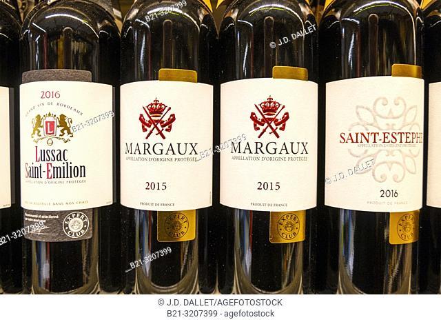 """France -Nouvelle Aquitaine-Gironde- """"""""Saint Emilion"""""""", """"""""Margaux"""""""", """"""""Saint Estephe"""""""",different wines from Bordeaux wines districts"""