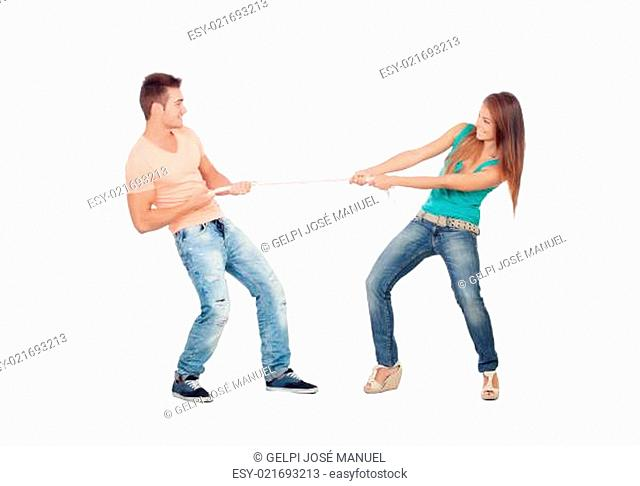 Couple of lovers pulling a rope