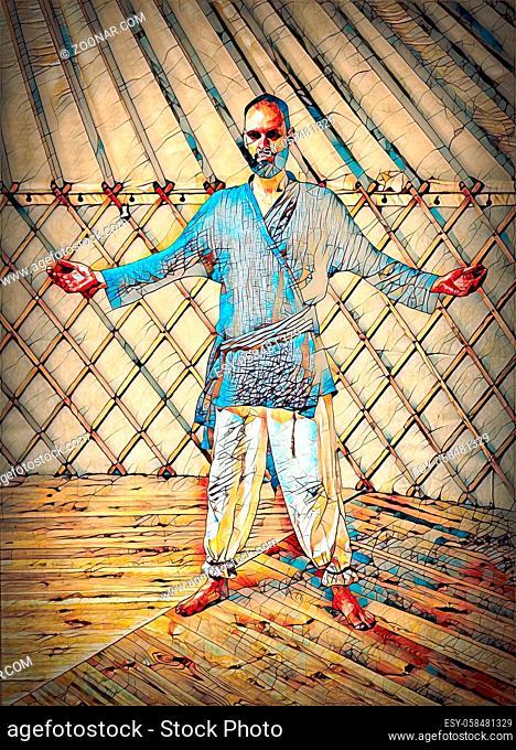 dancing warrior, ceremonial dance in a yurt