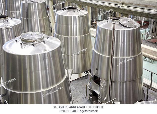 Fermentation tanks, Winery, Bodegas Baigorri, Samaniego, Rioja Alavesa, Araba, Basque Country, Spain, Europe