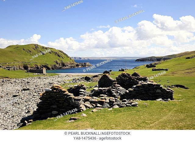 Fethaland, Northmavine, Shetland Isles, Scotland, UK, Europe  Derelict fishing lodges at old Haaf station heritage site