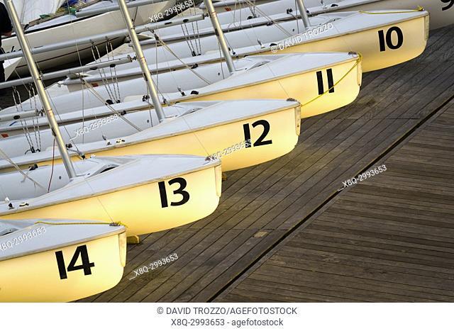 Sailing school boats, Annapolis, Maryland, USA