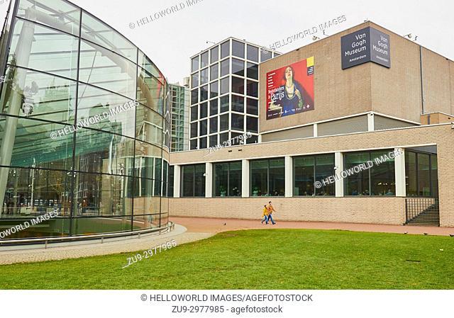 Van Gogh Museum by Gerrit Rietveld with Modern extension by Kisho Kurokawa, Museumplein, (Museum Square), Amsterdam, Holland