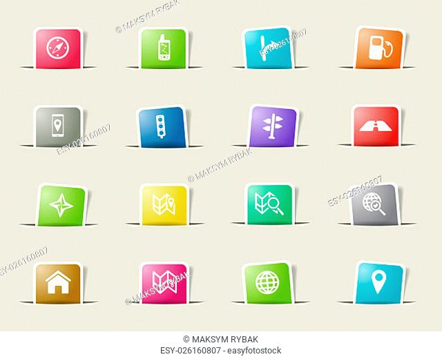 Navigation icons set for web sites and user interface