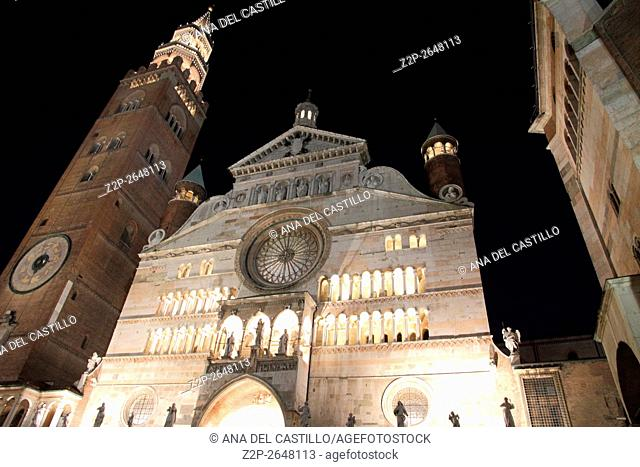 Piazza Duomo or cathedral square in Cremona Italy. Cathedral and baptistery by night