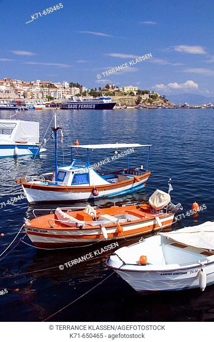 Fishing boats in the small harbour at Kavala in northern Greece