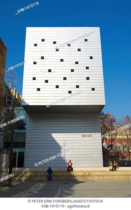 MACBA modern art museum exterior Placa Angels square El Raval central Barcelona Spain Europe