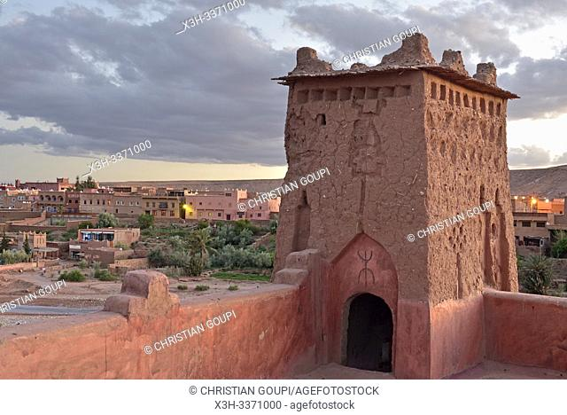 terrace of Kasbah Tebi, guest house in the heart of the Ksar of Ait-Ben-Haddou, Ounila River valley, Ouarzazate Province, region of Draa-Tafilalet, Morocco
