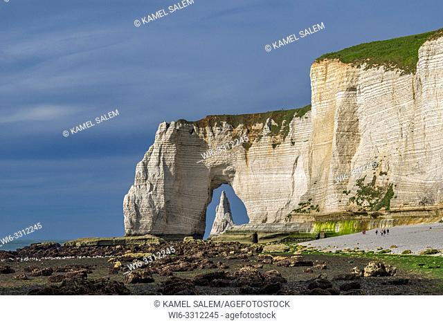 The Manneporte and the arch of Etretat, Normandy, France