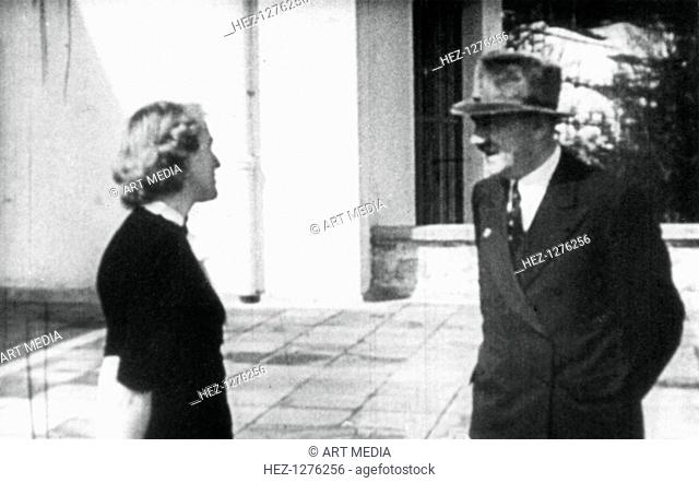 Adolf Hitler and Eva Braun, Berchtesgaden, Bavaria, Germany, c1936-1945. Eva Braun came to live with Hitler at the Berghof