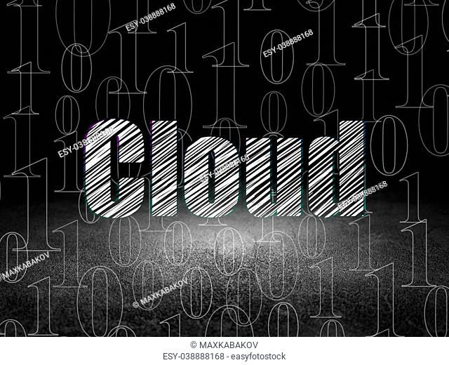 Cloud networking concept: Glowing text Cloud in grunge dark room with Dirty Floor, black background with Binary Code, 3d render