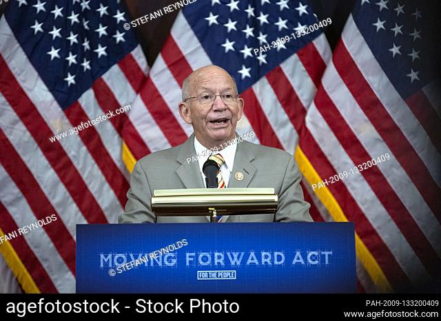 United States Representative Peter DeFazio (Democrat of Oregon) speaks during a news conference on the Moving Forward Act at the United States Capitol in...