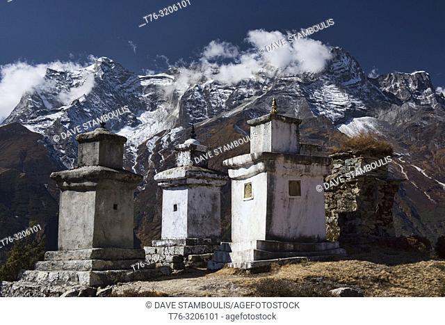 Stone chortens and high mountains, Everest region, Khumbu, Nepal