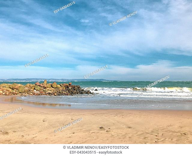 Panoramic View Of The Empty Beach And Waves. Pomorie, Bulgaria