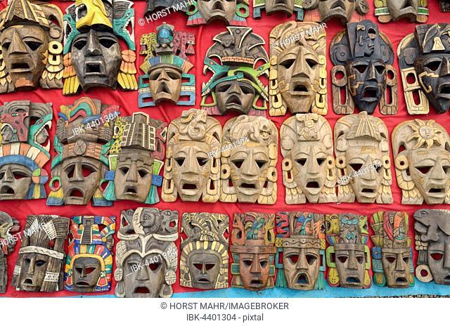 Wooden masks at a souvenir stand, Mayan ruins of Palenque, Chiapas, Mexico