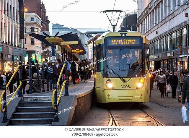 Market Street Tram Station, Manchester, England, United Kingdom