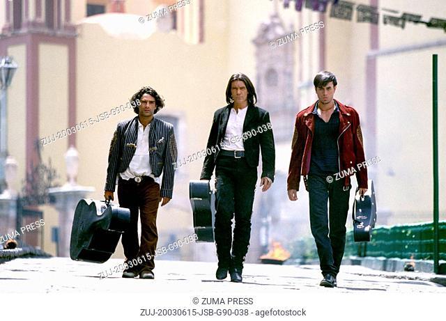Jun 15, 2003; Mexico City, MEXICO; Actors MARCO LEONARDI as Fideo, ANTONIO BANDERAS as 'El Mariachi', and ENRIQUE IGLESIAS as Lorenzo in the action thriller...