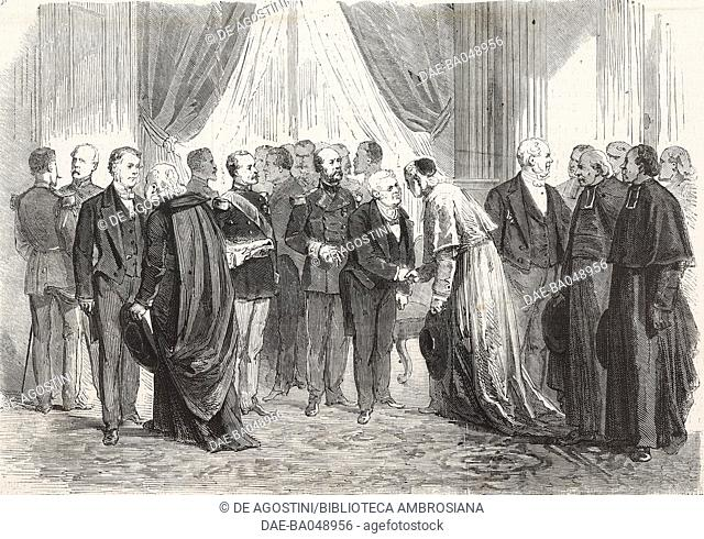 President of the Republic Adolphe Thiers receiving prelates and state officials, Paris, January 1, 1872, France, illustration from L'Illustration