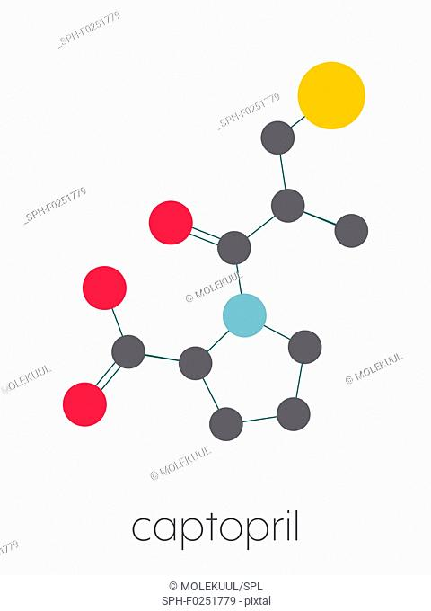 Captopril high blood pressure (hypertension) drug. An angiotensin-converting enzyme inhibitor (ACE inhibitor) Stylized skeletal formula (chemical structure)