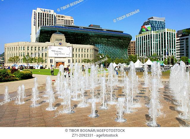 South Korea, Seoul, Seoul Plaza, City Hall,