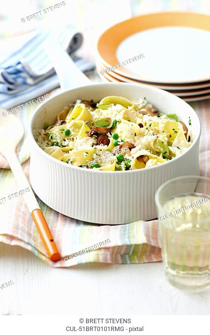 Dish of creamy vegetable pasta