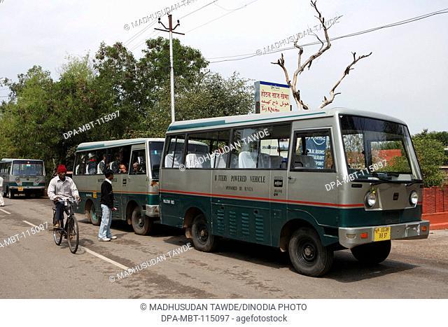 Environment friendly battery operated bus at Taj Mahal Seventh Wonders of World Agra ; Uttar Pradesh ; India