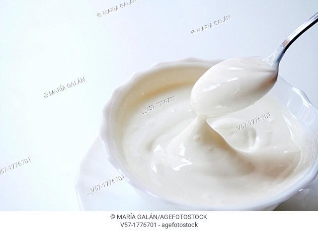 Greek yoghurt. Close view