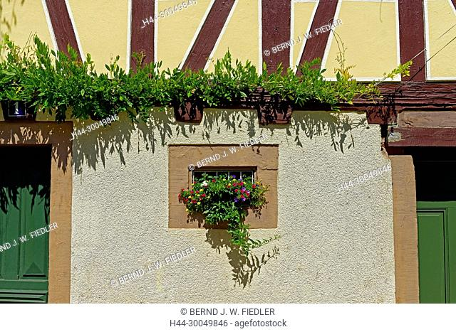 Flowers, blossoms, windows, decoration, detail, Annweiler in the Trifels Germany