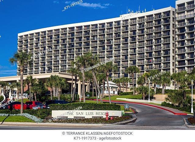 The San Luis Resort on the seawall in Galveston, Texas, USA