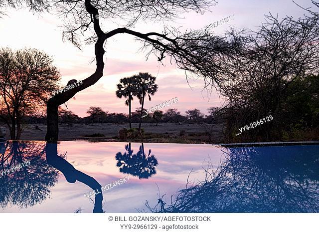 Sunset Reflections at Onguma Tented Camp, Onguma Game Reserve, Namibia, Africa