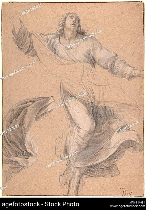 St. Louis in Glory. Artist: Simon Vouet (French, Paris 1590-1649 Paris); Date: ca.1640-41; Medium: Black chalk, heightened with white chalk, on beige paper