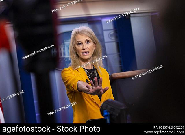 Senior Counselor Kellyanne Conway speaks to members of the media following a television interview in the James S. Brady Press Briefing Room at the White House...