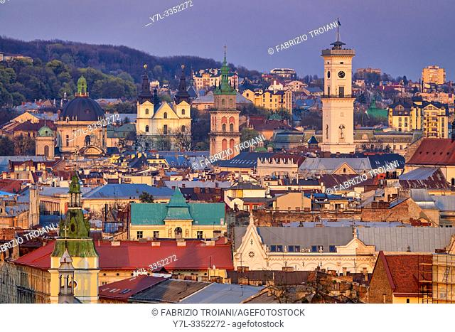 Aerial view of the Old town, Lviv, Ukraine