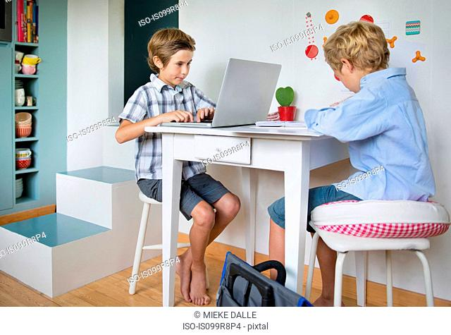 Brothers doing their homework in kitchen