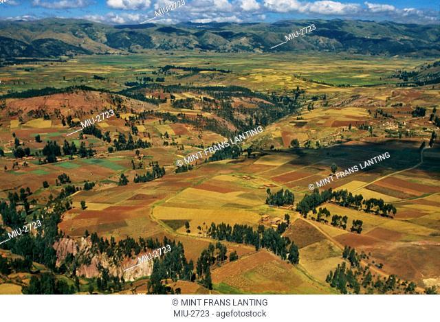Farmland on Altiplano near Cuzco aerial, Peru