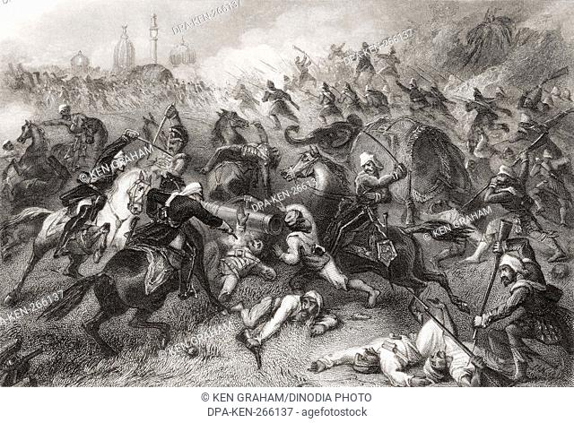 Havelocks column attacking mutineers before Cawnpore, Uttar Pradesh, India, Asia, 1857