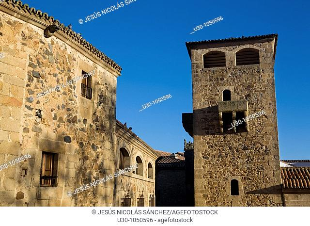 Tower of Golfines de Abajo Palace, of the XV century, in Cáceres  City declared World Heritage by UNESCO  Extremadura  Spain