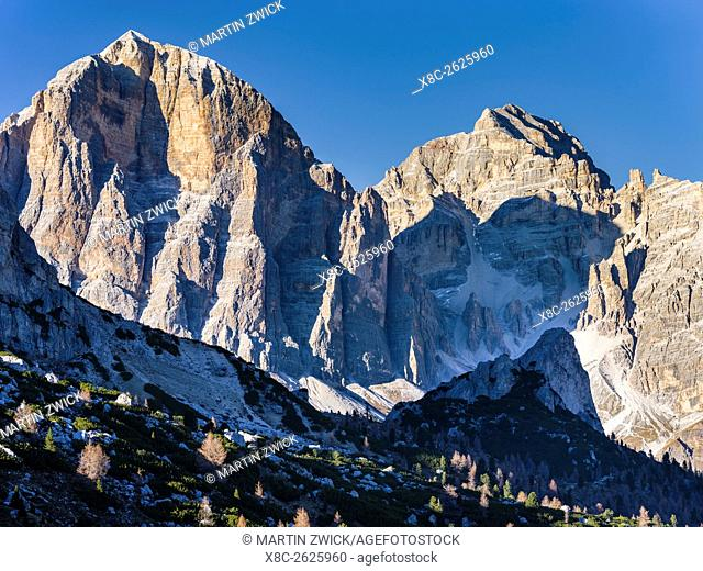 The Dolomites near Passo Giau. The peaks of the Tofane. The Dolomites are listed as UNESCO World heritage. europe, central europe, italy, november
