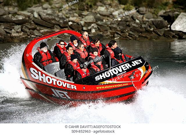 The Shotover River jetboat, passes through the canyon walls of the shotover River, Queenstown, Otago, South Island, New Zealand